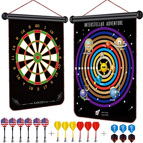 Rabosky Magnetic Dart Board for Kids, Indoor Outdoor Interstellar Adventure Board Games Set, Best Toy Gifts for Boys and Grils, Include 12 Darts & 6 Extra Flights