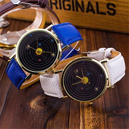 Vavna® Top New Unisex Student Solar System Print Quartz Women's Leather Wrist Watch - Yellow Gold by Vavna (Image #1)