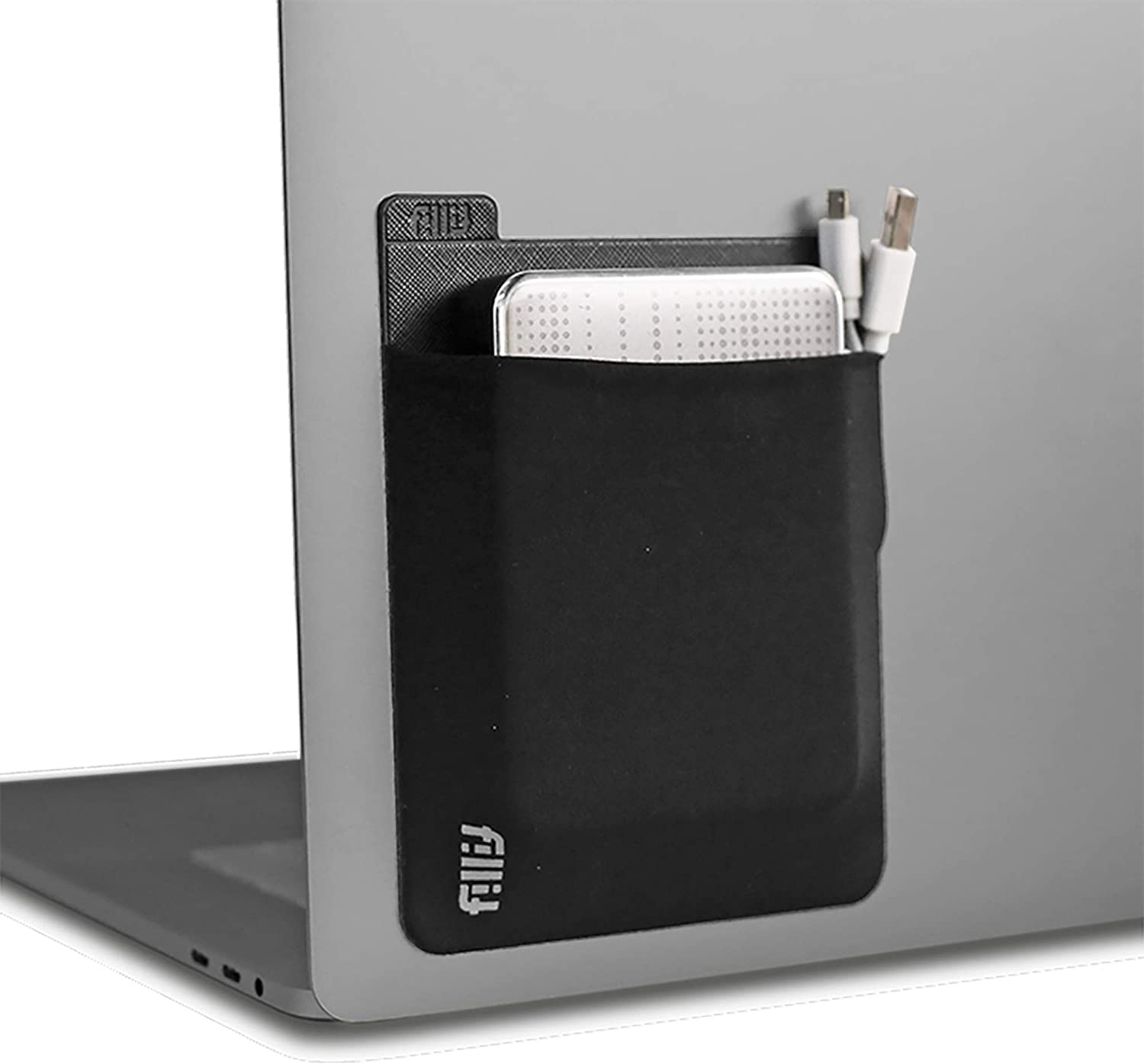 Fillit Pocket, Black, Reusable Adhesive Pocket Storage for External Hard Drives, Battery Packs, Cables, and Other Small Personal Items