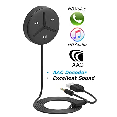 Aston SoundTek A1+ Bluetootoh Handsfree 3.5mm Aux Bluetooth Receiver Car Handsfree Support AAC Decoder Music Streaming for Car and Home Theater Voice Assistant Built-in Noise Isolator