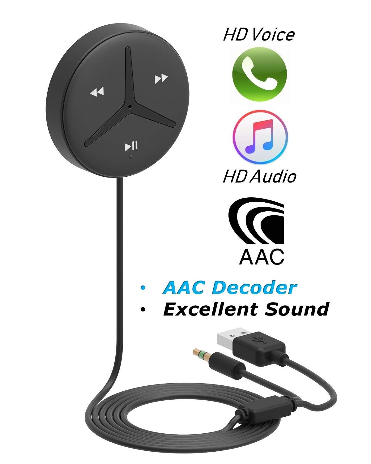 [Upgraded] Aston SoundTek A1+,Excellent Sound,3.5mm Aux Bluetooth Receiver,Car Handsfree,AAC Codec,Music Streaming for Car and Home Theater,Voice Assistant,Auto On,Multi-Point,Build-in Noise Isolator by Aston Innovations