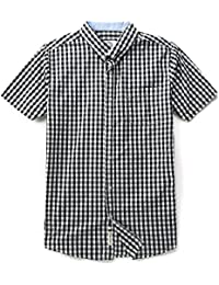 Men's Short Sleeve Plaid Checkered Button Down Casual Shirts