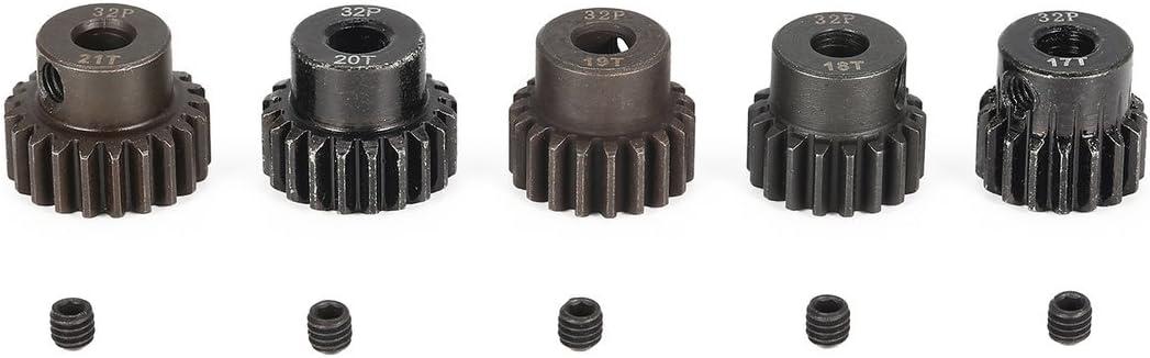 SURPASS HOBBY 5Pcs 32DP 5mm 17T 18T 19T 20T 21T Metal Pi/ñ/ón Motor Gear Set para 1//8 RC Car Truck Motor sin escobillas cepillado Color: Negro