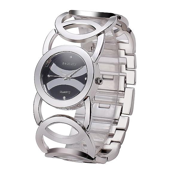 jw089 imitación chapado en oro círculos correa trasera de acero inoxidable brillante mujeres relojes Fashion reloj de pulsera: Amazon.es: Relojes