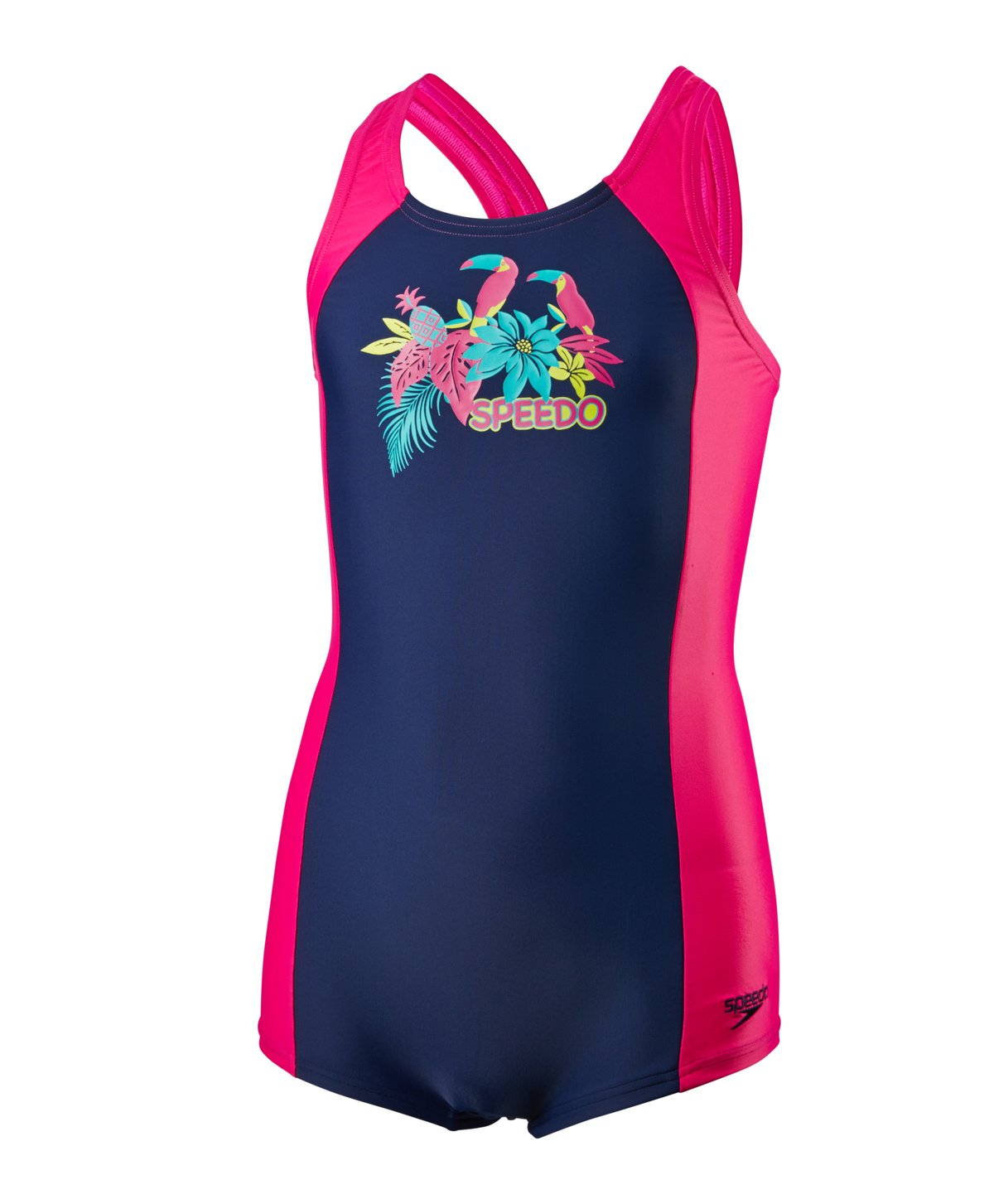 Speedo, Costume da bagno intero per bambine, ragazza, Samba Feathers Panel, Navy/Electric Pink/Jade, 26 8-05513B511