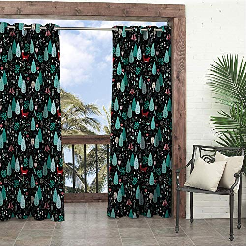 Linhomedecor Balcony Waterproof Curtains Forest Spring Summer Pattern Fox Birds Flowers and Trees Enchanted Woodland Wildlife Multicolor Porch Grommets Backdrop Curtain 96 by 84 inch