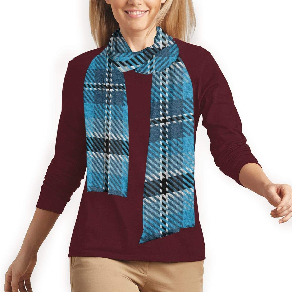 Turquoise Sky And Colonial Blue With Black And A Dash Of White Plaid Classic Warm Long Winter Scarf for Men and Women
