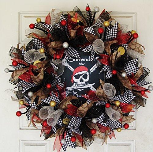 Dread Pirate Roberts Costumes (Surrender the Booty Pirate Skull Crossbones Skeleton Deco Mesh Front Door Wreath, Party Decoration Halloween Prop Decor, Porch Patio Outdoor)