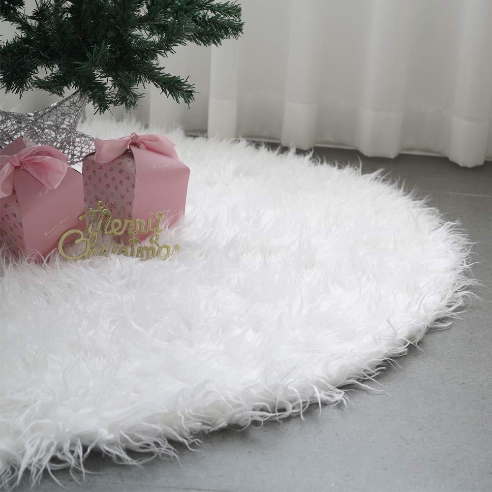 "Abobo 60""Christmas Tree Skirt – Sonw White Extra-Plush Faux Fur + Storage Bag (Heirloom Quality)"
