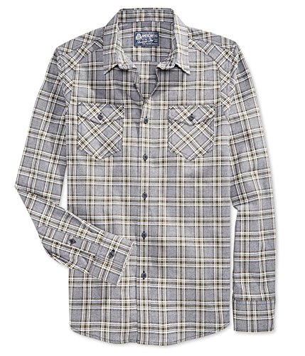 American Rag Mens Plaid Front Pockets Button-Down Shirt Gray S