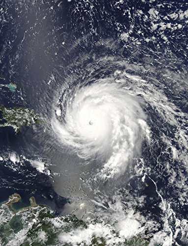 Posterazzi Poster Print Collection Satellite View of Hurricane Irma Over the Leeward Islands and Puerto Rico Stocktrek Images, (22 x 34), Multicolored