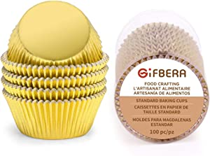 Gifbera Gold Foil Muffin Cupcake Liners/Baking Cups Standard Size, 100-Count