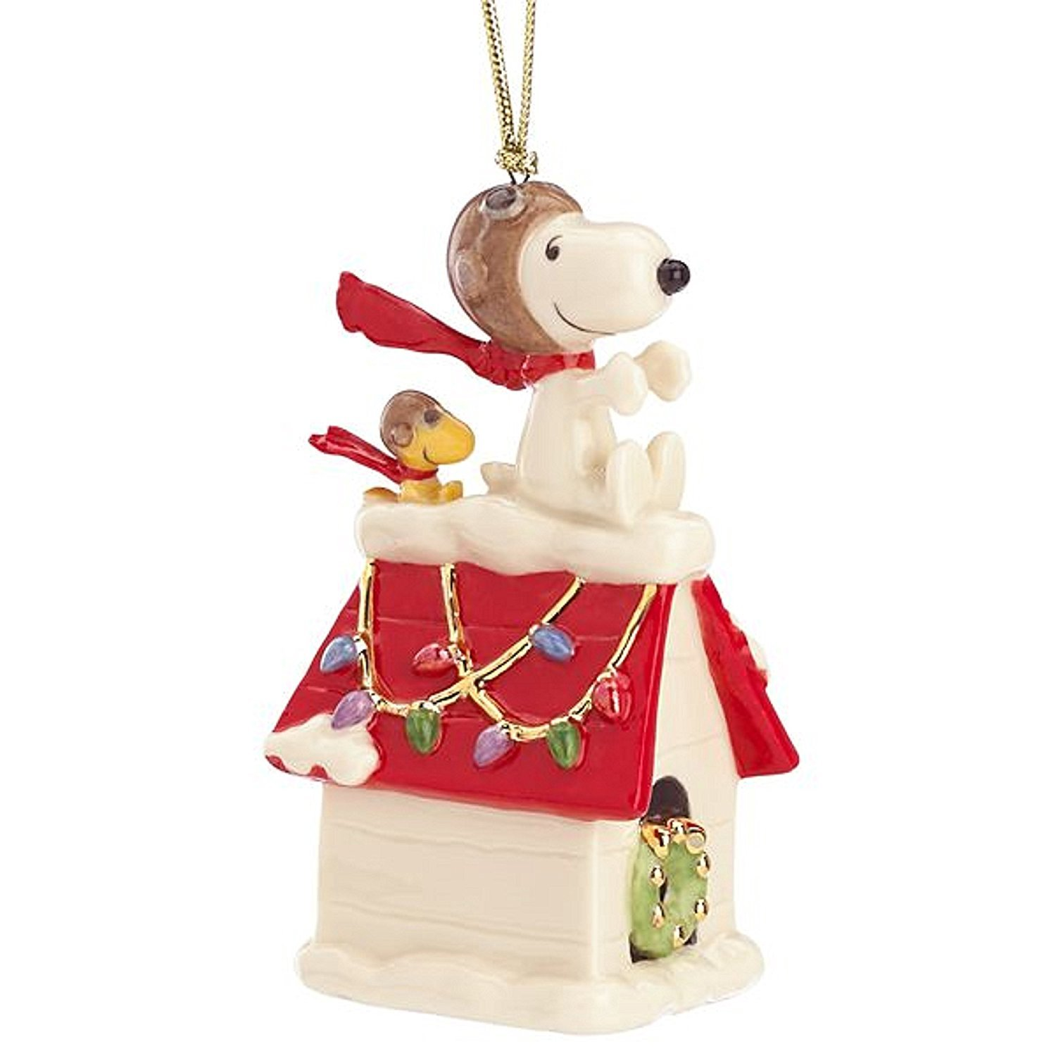 Lenox Peanuts Snoopy The Flying Ace Ornament Figurine Dog House Pilot Red Baron
