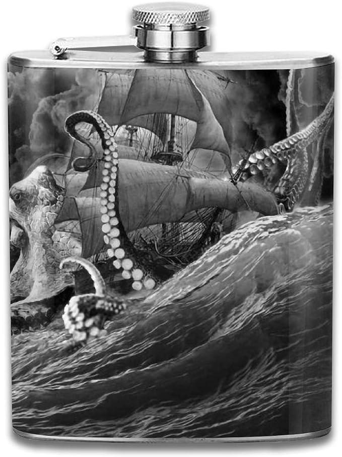 Petaca de acero inoxidable, 7 onzas Sea Monster Kraken ...