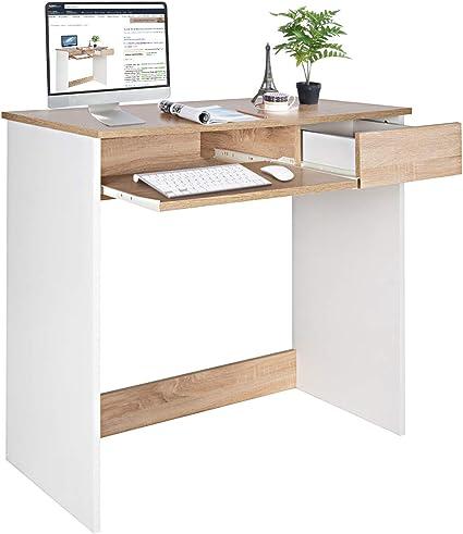 Coavas Escritorio para computadora, Escritorio de Madera con cajones de alacena y Bandeja para Teclado Mesa de PC para Adultos y niños, 80 x 45 x 75 ...