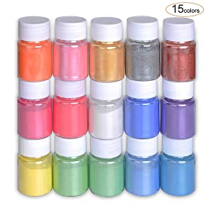 Mica Powder Slime Pigment Supply Kit Powder Resin in Bottle Organized with Pearlescent Pearl Luster, 15 Colors Fine for Soap Making/Bath Bomb/Nail Art/Eyeshadow DIY