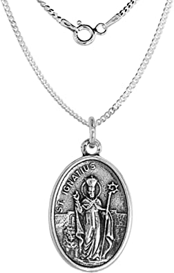 Sterling Silver St Michael Medal Necklace Oval 1.8mm Chain