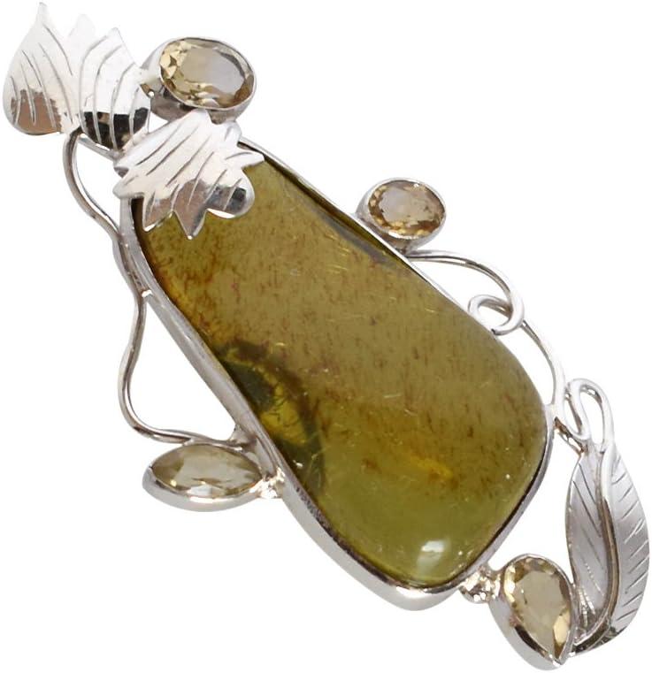 Marvelous FSJ-1601 - Colgante de plata de ley 925 con piedra preciosa de ámbar báltico verde y citrino