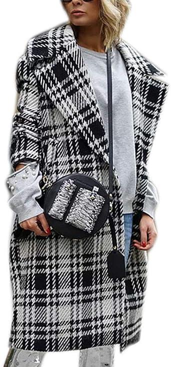 Abrigo a Cuadros Parka Mujer Street Fashion Abrigo Largo en Contraste a Cuadros en Blanco y Negro: Amazon.es: Ropa y accesorios