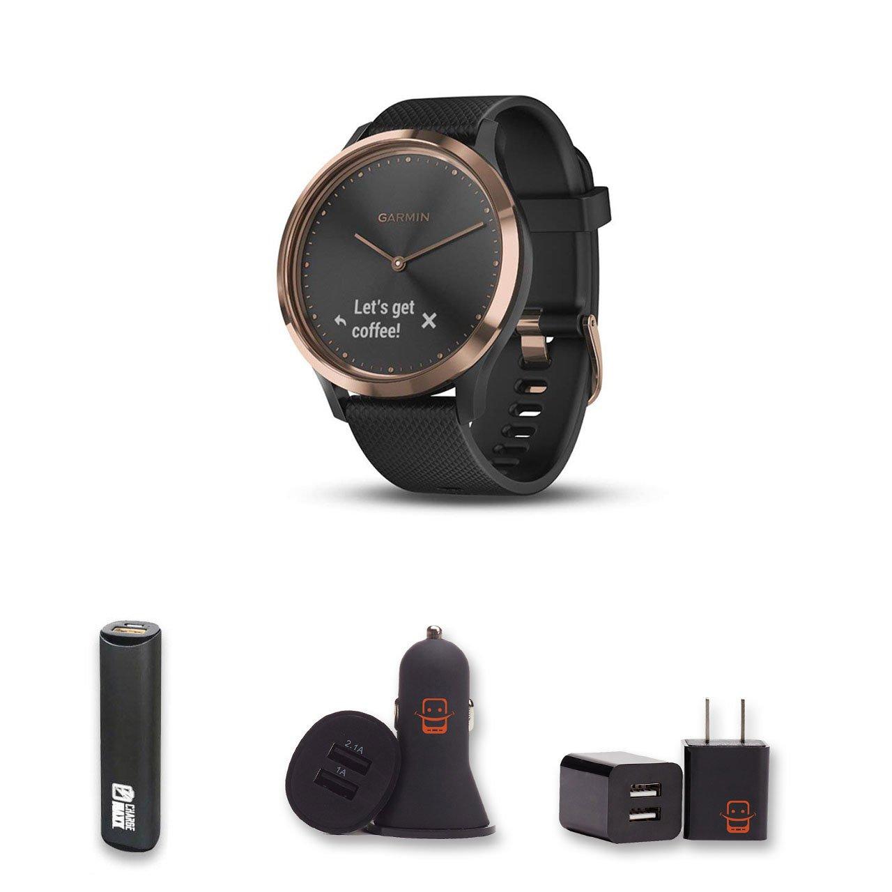 Garmin Vivomove HR Sport (Black/Rose Gold) Small/Medium Hybrid Smartwatch Bundle with PowerBank + USB Car Charger + USB Wall Charger (4 Items)