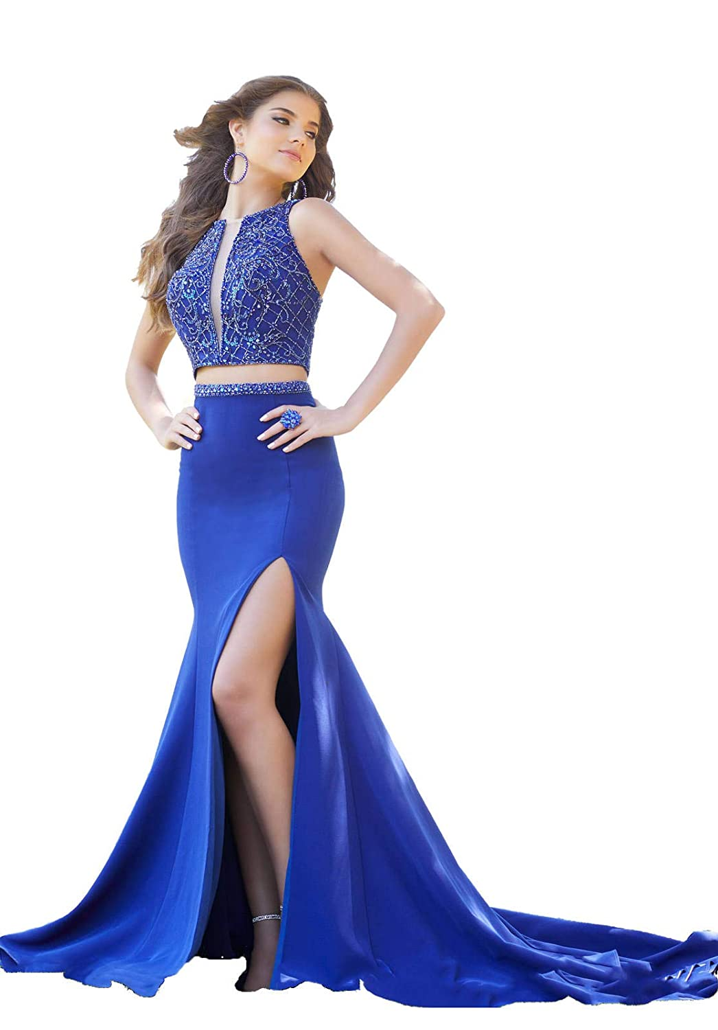 Royal bluee Yisha Bello Women's Sexy Crystal Beaded Two Piece Prom Dresses Mermaid Slit Evening Formal Party Ball Gowns Long