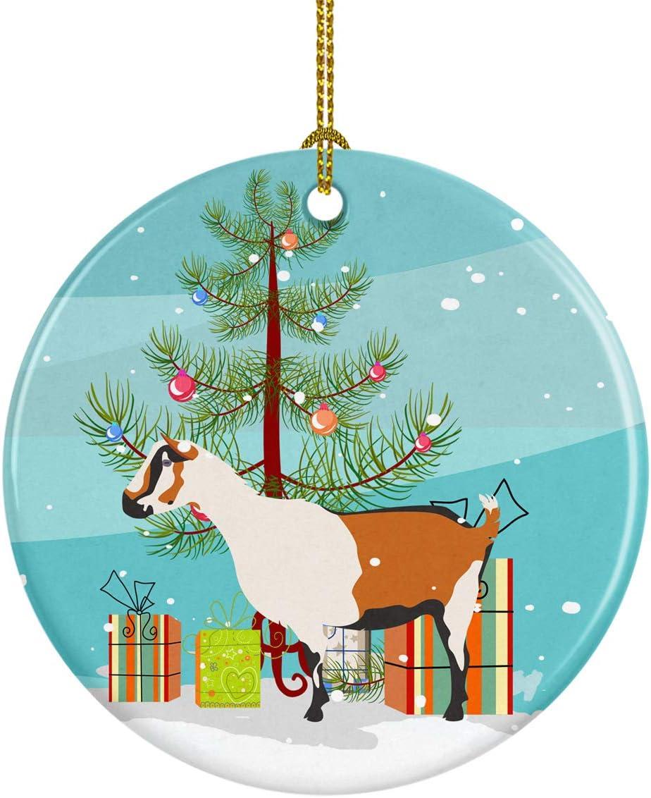 Caroline's Treasures BB9247CO1 Alpine Goat Christmas Ceramic Ornament, 3 in, Multicolor