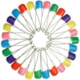 Bilipala Colored Plastic Head Safety Pins, Baby Safety Pins, Diaper Pins, 2 Inch, 60 Count