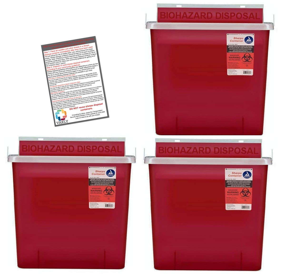 Sharps Container 5 Quart with Mailbox Style Lid - Plus Vakly Biohazard Disposal Guide (3 Pack)