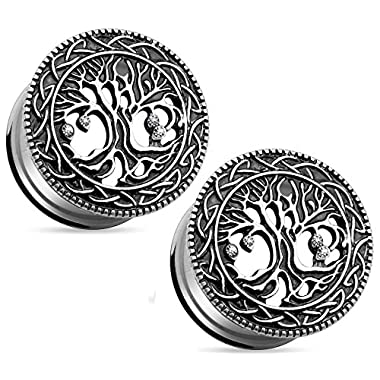 Tree of Life Face 316L Surgical Steel Ear Plugs, Double Flare Tunnel Ear Guages - Sold as Pair ((8mm) 0GA)