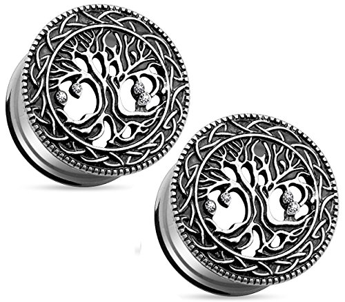 Tree of Life Face 316L Surgical Steel Ear Plugs, Double Flare Tunnel Ear Guages - Sold as Pair ((10mm) 00GA)