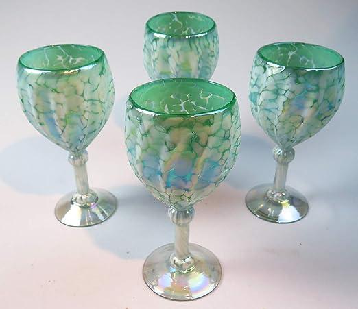 Hand Blown Glass Lime Green Stemless Wine Glass