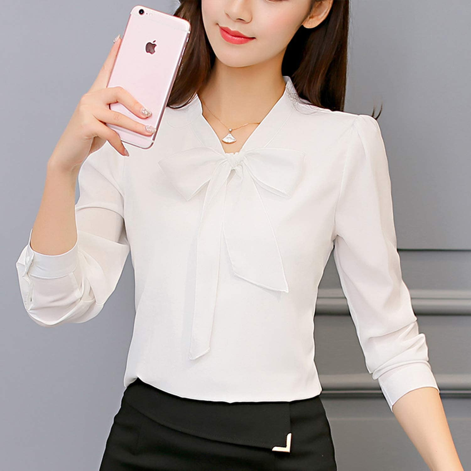 Spring Autumn The New Korean Casual Chiffon Blouse Shirt Pink