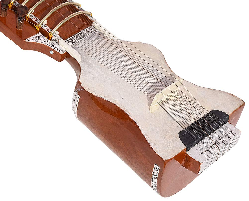 Dilruba Beginner Quality -Gig Bag, 4 Main String, 15 Sympathetic String, Tun Wood, Beautiful Craft Work, Sweet Sound, Natural Wood Colour, With Bow, Extra String & Rosin For Bhajan, Kirtan, Mantra by Kaayna Musicals (Image #5)