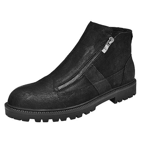 Shufang-shoes Botines para Hombre Cremallera Ambas Zapatillas Laterales con Forro Polar en la Parte