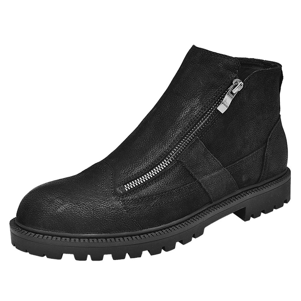 Hilotu Men's Fashion Ankle Boots Casual Classic Comfortable Zipper Both Side High Top Fleece Lined Shoes(Conventional Optional) Anti-Slip (Color : Black, Size : 8 D(M) US)