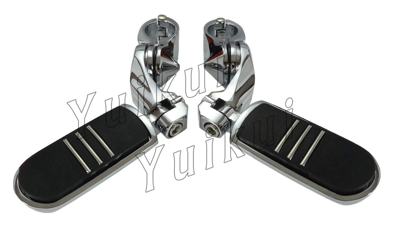 YUIKUI RACING オートバイ汎用 1-1/4インチ/32mmエンジンガードのパイプ径に対応 ハイウェイフットペグ タンデムペグ ステップ YAMAHA DRAG STAR XVS 650 / 1100 (CLASSIC/CUSTOM/SILVERADO) From 1998等適用   B07PYTSMV7