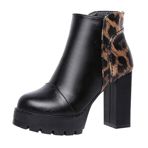 Logobeing Botas Mujer Invierno Botines Mujer Tacon Zapatos de Mujer con Cremallera Lateral Botas de Cuero Martin Botines de Tacón Alto Cuadrados: Amazon.es: ...