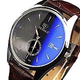 Yazole 306hombres Moda Casual luminoso manos Calendario piel reloj de cuarzo (Negro)
