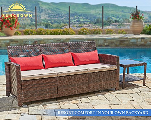 suncrown outdoor furniture patio sofa couch seats 3 garden backyard porch or pool all weather wicker with thick cushions modern open back weaving