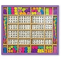 Melissa & Doug Deluxe - Cuentas de madera con más de 200 cuentas y 8 cordones para hacer joyas