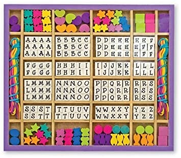 Melissa Doug Deluxe Created By Me Wooden Alphabet Beads Set Jewelry Making Kit Over 200 Beads 8 Cords