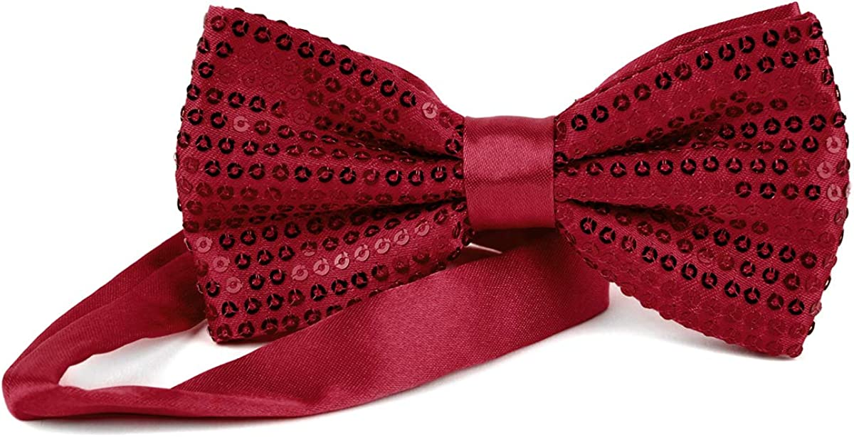 Men Shiny Dress Sparkly Sequin Satin Bow Tie Ties