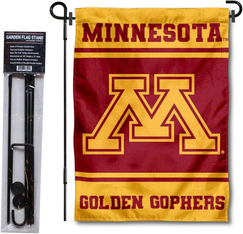 Minnesota Gophers Garden Flag and USA Flag Stand Pole Holder Set
