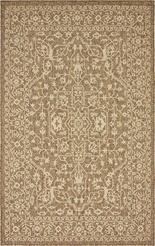 Outdoor Collection Area Rug - Brown 5' x 8'-Feet, Perfect for Indoor & Outdoor Rugs - Garden and Pool Area, Camping, Picnic Carpet