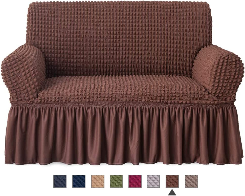 NICEEC Loveseat Slipcover Brown Loveseat Cover 1 Piece Easy Fitted Sofa Couch Cover Universal High Stretchable Durable Furniture Protector Love Seat with skirt Country Style (2 seater Chocolate Brown)