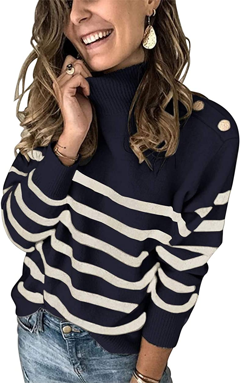 KIRUNDO 2020 Winter Women's Long Sleeves Knit Sweater Turtleneck Striped Print Loose Pullover Tops Deco with Metal Button