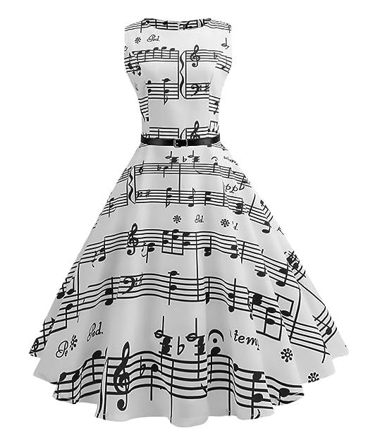Vestidos De Fiesta Para Bodas Mujer Elegantes Verano Sin Mangas Vestidos Retro Rockabilly 1950S A-Line Cóctel Hepburn Con Estampado Notas Musicales Por La ...