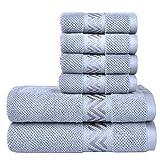 VAVE Luxury Cotton Soft Bath Towels Set Hand Towel Washcloths Quality Bathroom Towels SPA Hotel Home Travel Beach Sauna Spring Summer Autumn Winter Super Absorbent Kitchen Decorative (Blue Grey)