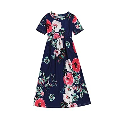 3999f2ab1d Amazon.com  Fashion Toddler Kid Baby Girl Flower Print Princess Party Long  Dress Outfits Clothes 2-10 Years  Clothing