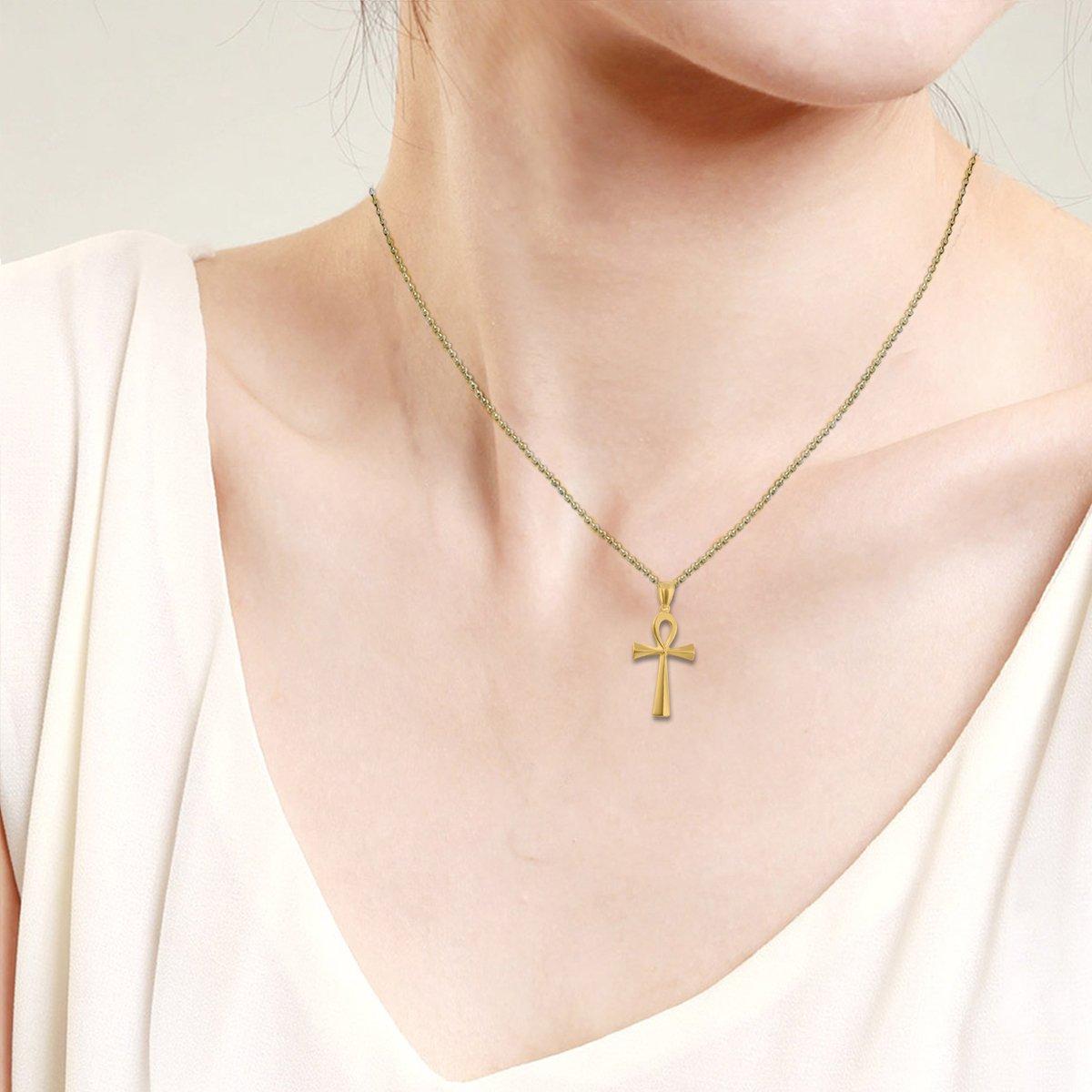Flongo Colgante de Cruz Ankh Egipto Acero Inoxidable de Color Plata//Dorado Egipcio Collar para Hombre Mujer Retro Vintage Cadena 50cm